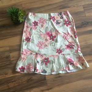 LOFT Tan with Pink Floral Print Trumpet Skirt
